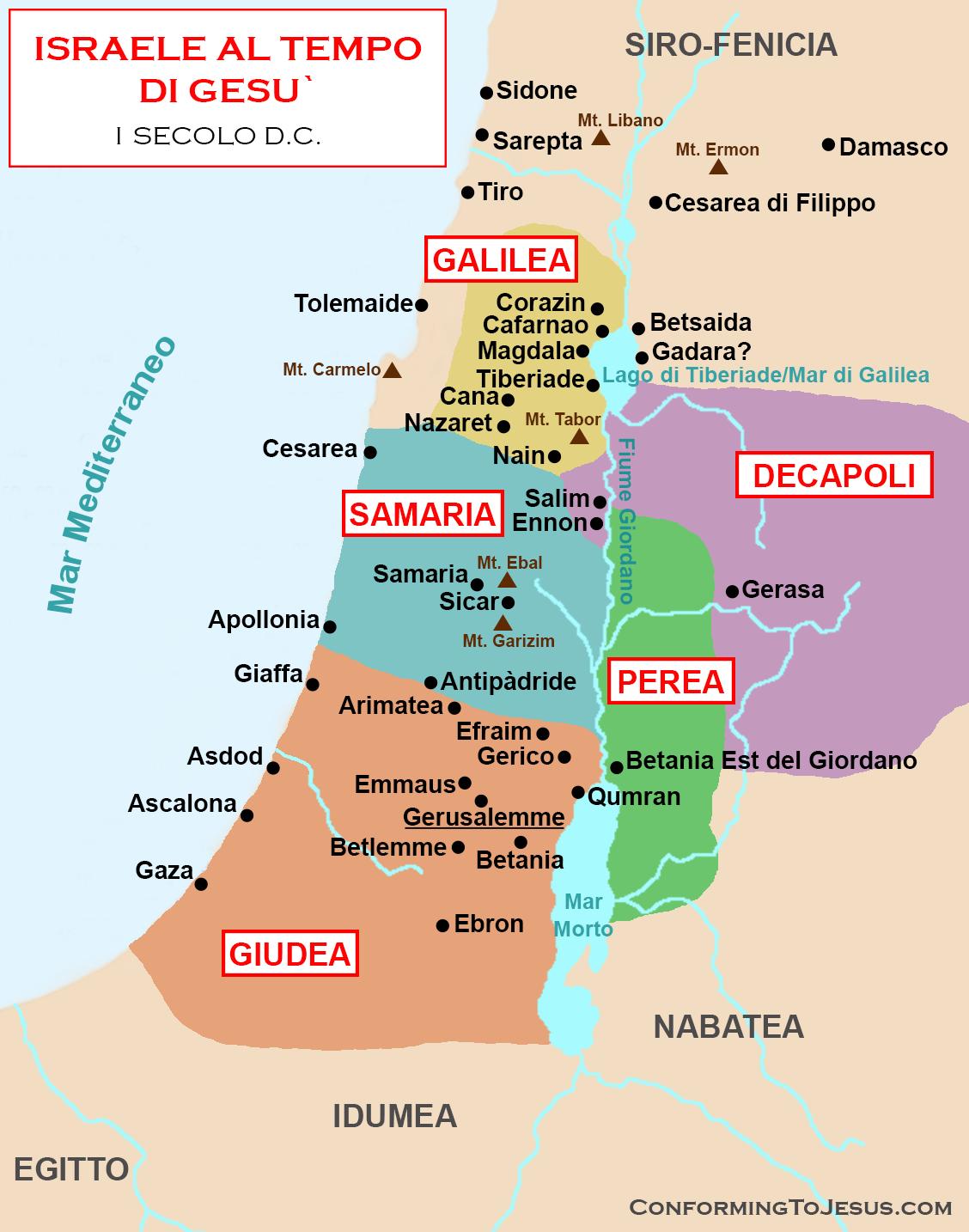 Israele Cartina Politica Oggi.Mappa E Storia Di Israele Al Tempo Di Gesu Cristo