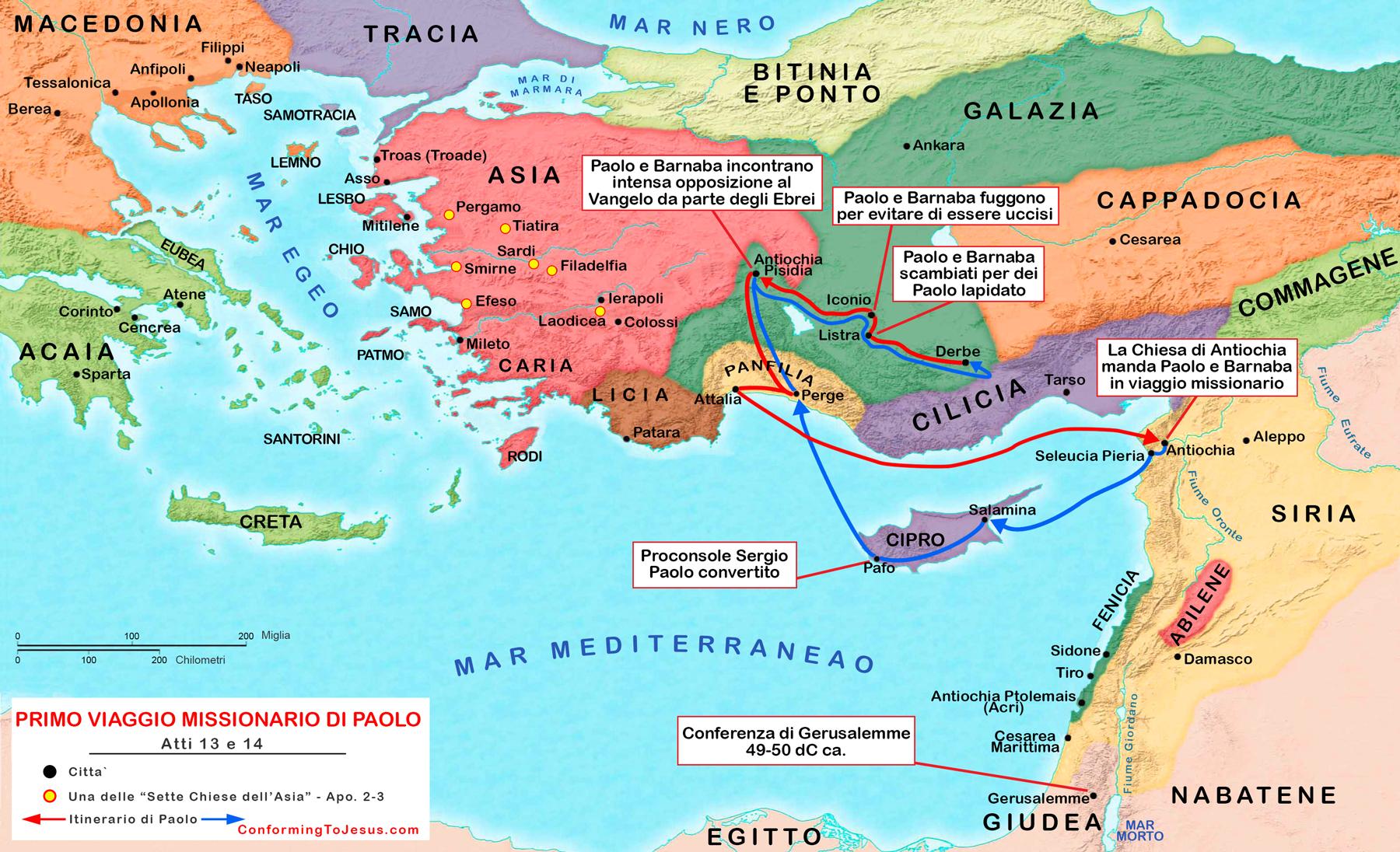 Cartina Del.Mappa E Cartina Del Primo Viaggio Missionario Di Paolo