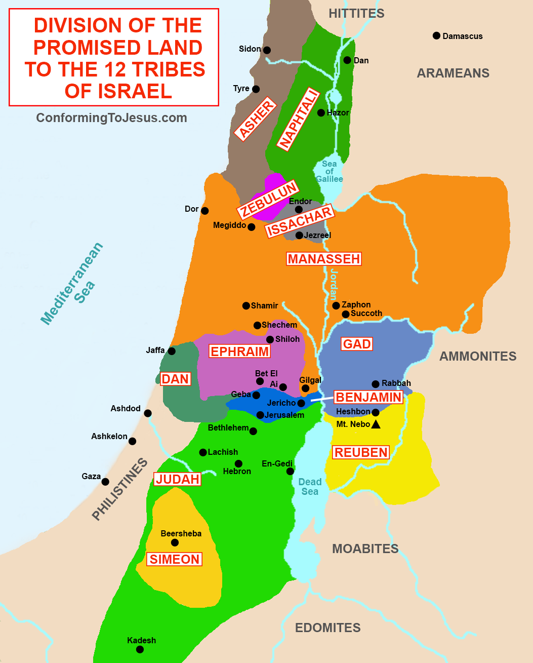 Division of the Promised Land to the 12 Tribes of Israel Map