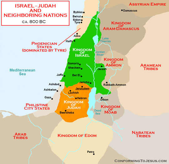 Biblical Teachings - Israel's bordering and nearby Nations at the time of the Divided Kingdom of Israel in the North and of Judah in the South included: the Phoenicians States dominated by the cities of Tyre and Sidon, the Kingdom of Aram-Damascus, the Kingdoms of the Ammonites and of the Moabites (descendants of Lot), the Kingdom of Edom (descendants of Esau), the city-states of the Philistines and others - ConformingToJesus.com