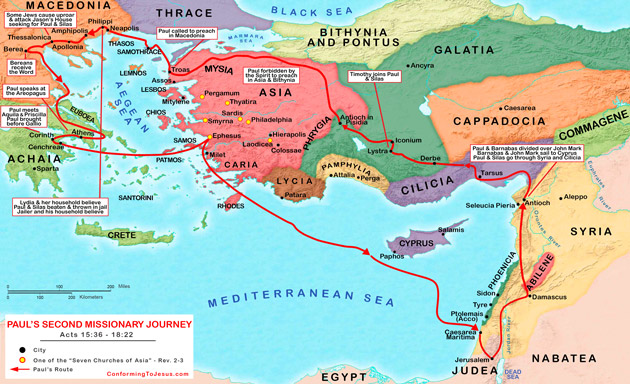 The Second Missionary Journey takes Paul from Antioch to Cyprus then southern Asia Minor, and back to Antioch. The Paul's Second Missionary Journey Map outlines his Second Evangelical Mission itinerary - ConformingToJesus.com