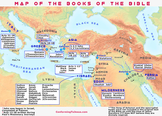 Biblical Teachings - Map of the Books of the Bible