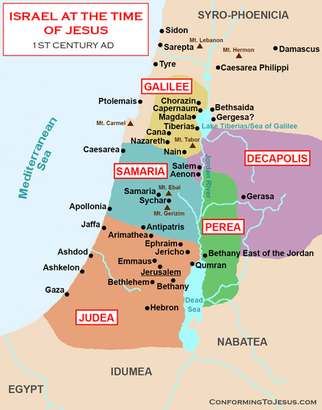 Map And History Of Israel At The Time Of Jesus Christ - Isreal map
