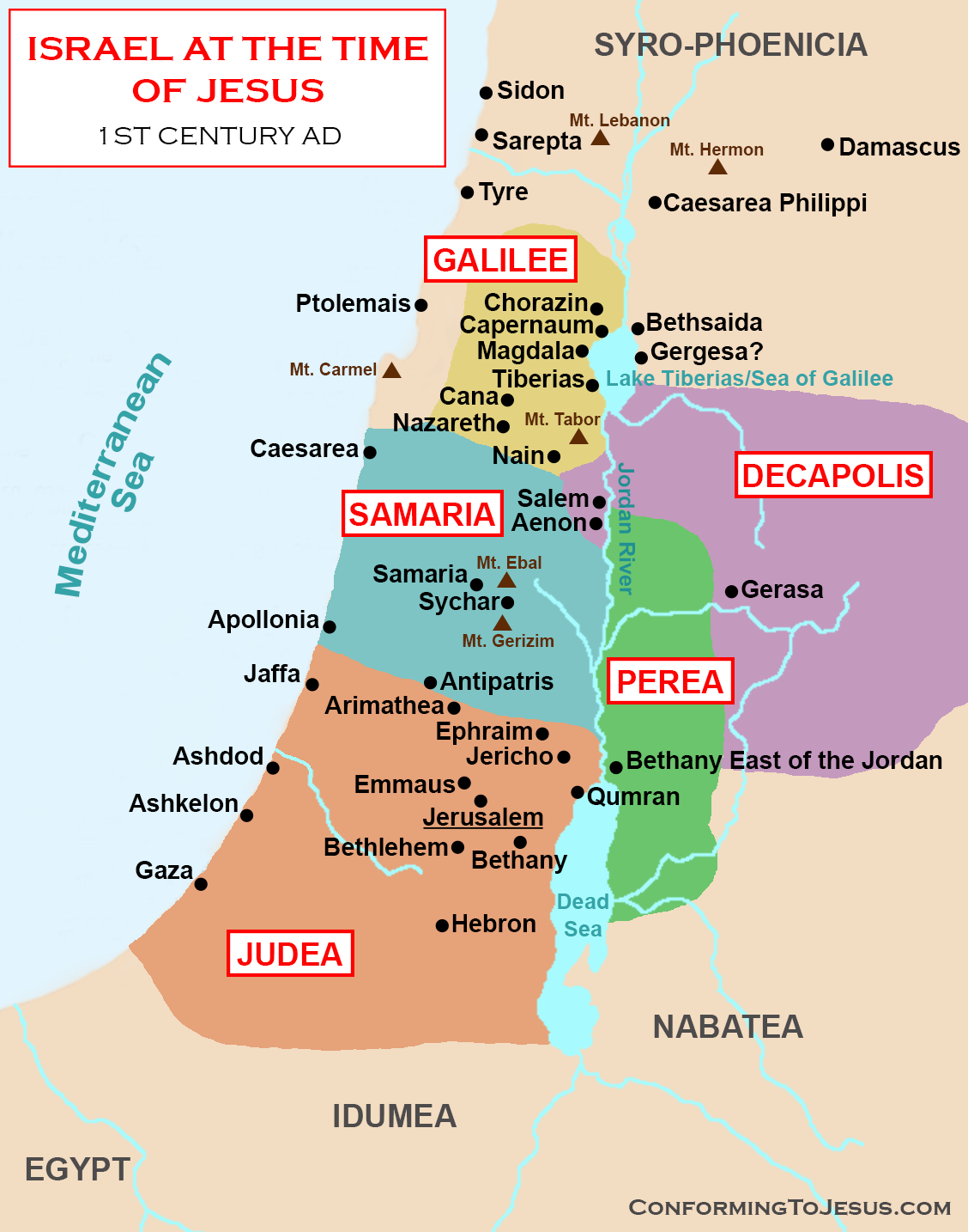 Map Of Israel In Jesus Time Map and History of Israel at the time of Jesus Christ