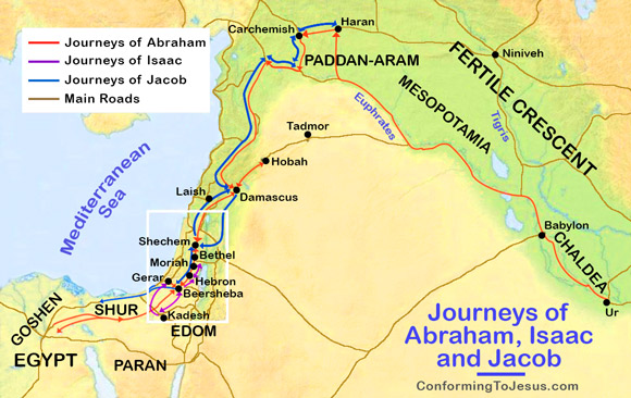 Map Of The Journeys Amp History Of Abraham Isaac Amp Jacob
