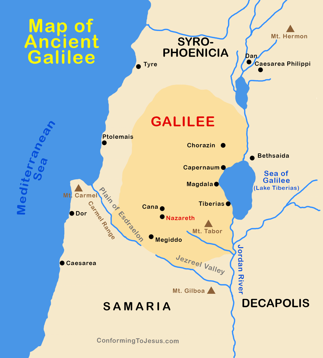 Map of Ancient Roman Galilee - Upper & Lower Galilee Decapolis Map on