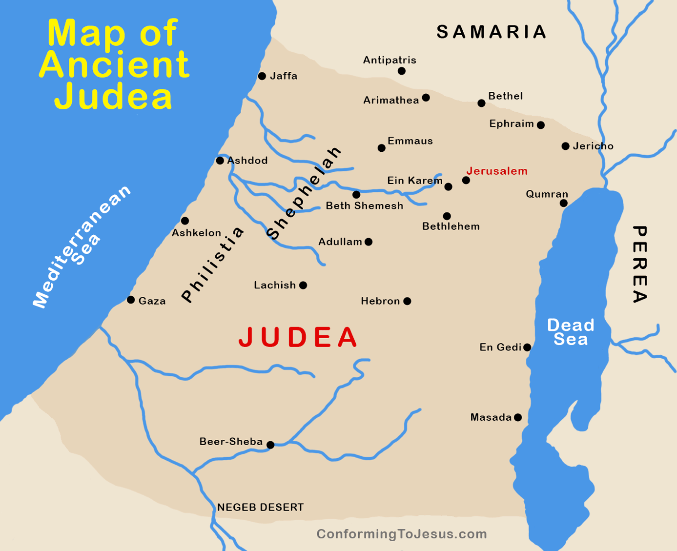 Map of Ancient Roman Judea Map of Judea at the time of Jesus