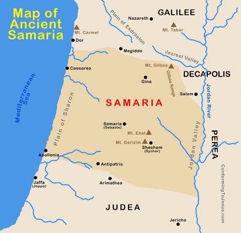 Bible Maps - The region of Ancient Samaria at the time of Jesus became a Roman province in 6 AD & in the Old Testament times was part of the biblical Northern Kingdom of Israel. The New Testament mentions Samaria in Luke, John & Acts - ConformingToJesus