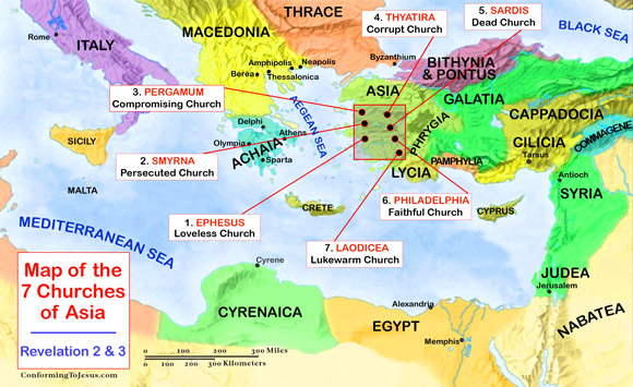 Bible Teachings - The Seven Churches of Revelation, also known as the Seven Churches of the Apocalypse, the Seven Churches of Asia and the Seven Churches of Asia Minor (referring to the Roman province of Asia, modern day Asia Minor/Turkey) are Seven major Churches of Early Christianity, as mentioned in the New Testament Book of Revelation, chapters 2 and 3 - ConformingToJesus.com