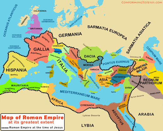Bible Teachings - This Map of the Roman Empire shows its extent at the Time of Jesus in the New Testament era and also at its greatest height in 116 A.D. under Emperor Trajan - ConformingToJesus