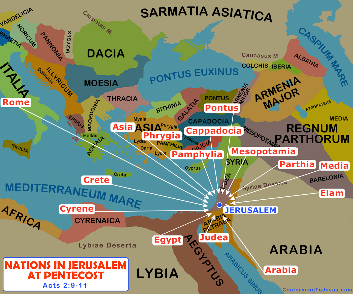 People in Jerusalem at Pentecost Map - Acts 2 Nations of