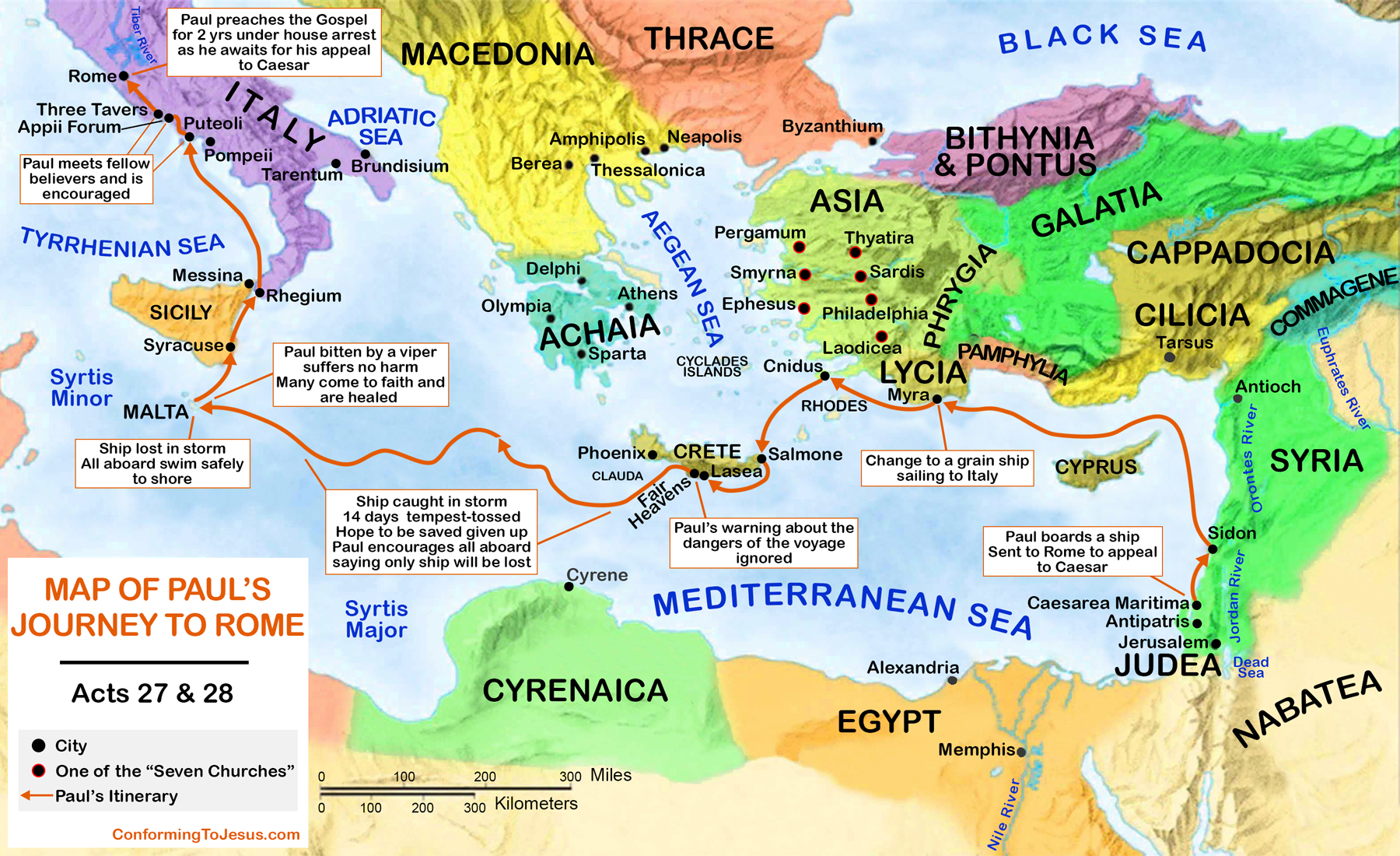 Pauls Journey to Rome Map  Pauls Voyage to Rome